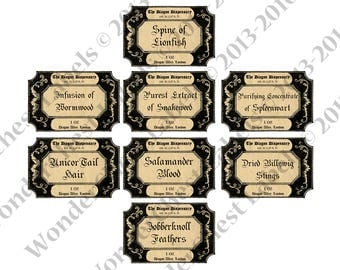 "Printable Harry Potter 3.8"" x 2.5""  set of 8, old apothecary labels, instant download pdf jpeg, potion labels, Fantastic Beasts printables"