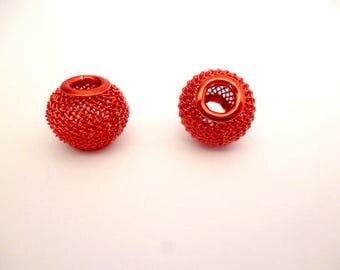 Large Hole Metal Beads_ PP65419008/665476_Large wire Red Beads of 12x10 mm _ hole 4/5 mm _ pack 5 pcs
