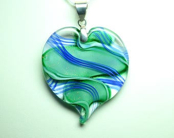 Ribbon Stardust Lampworked Art Glass Heart Pendant, Green with Cobalt Blue Stripes