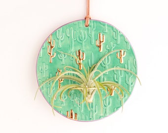 Gold Cactus Wall Decor, Saguaro Cactus Art, Cactus Wall Hanging, Air Plant Wall Hanging, Plant Lovers Gift, Ceramic Air Plant Wall Hanger