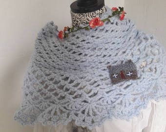Soft Blue hand crocheted Capelet, Shoulder Warmer, One Size, Soft Blue Acrylic Wool,