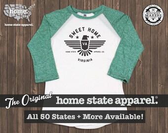Sweet Home Raglan: Green on White Baseball Raglan Shirt