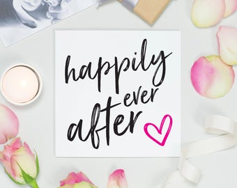 Wedding card for her, Happily ever after, engagement card, anniversary card, modern typographic card