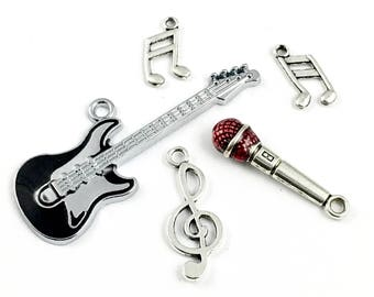 5 music charms collection enamel and silver tone # ENS A 337