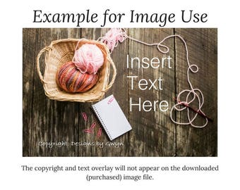 Styled Stock | Digital Download | Pink Multi-color Yarn Basket & Crochet Hook | Farmhouse Plank Wood | Flat Lay Horizontal Image
