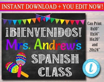 Spanish Teacher Classroom Door Sign, Bienvenido Printable Classroom Decor Custom Teacher Sign, Back to School Door Sign, Teacher Door Hanger
