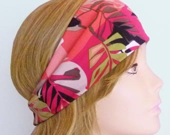 Red Coral Pink Green Tropical Print Headband Boho Hippie Head Wrap Womens Hair Band Accessory
