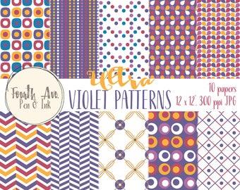 Ultra Violet Patterned Digital Paper, Violet Patterns Digital Paper, Purple, Violet, Modern, Mod, Digital Paper, Digital Collage