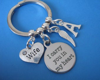 In Memory of a Wife Keyring Wife Bereavement Keychain with Initial Sympathy Gift for Loss of a Wife
