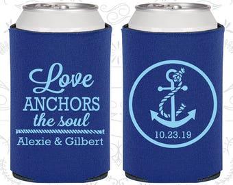 Love Anchor the Soul, Custom Favors, Anchor Wedding, Nautical Wedding, Anchor Favors, Wedding Can Coolers (40)