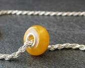 Natural Baltic Amber Bead Charm with Sterling Silver Core - Butterscotch Round