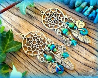 Boho Earrings; Dream Catcher Earrings; Feather Earrings; Hippie Earrings; Chandelier Earrings; Bohemian Earrings; Australian Seller