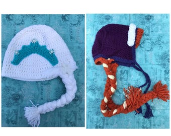 CLEARANCE/ SALE: Elsa and Anna Hats, Crochet Hats, Hand Made, Winter Hats