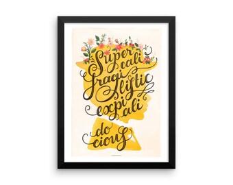 FRAMED Mary Poppins Music Poster, Supercalifragilisticexpialidocious Typography Print, Disney Illustration, Disney Poster, Nursery Decor,