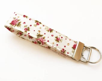 Pink Floral & Green Key Fob, Chain
