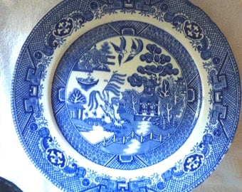 "Warranted STAFFORDSHIRE W. Adams & Sons TUNSTALL ENGLAND 9"" Luncheon Plate -- Is it Flow Blue?"