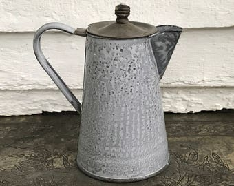 antique graniteware coffee pot with tin lid and well worn wooden knob ~ primitive antique ~ enamelware kettle ~ farmhouse antique