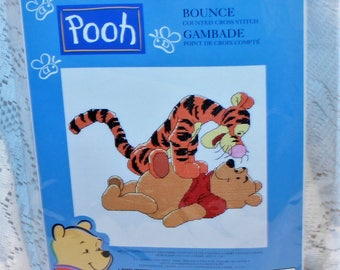 Leisure Arts Winnie The Pooh Bounce counted cross stitch kit #34006 Repackaged