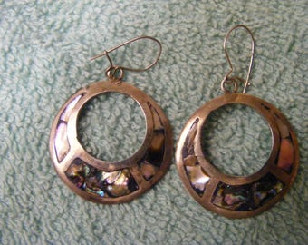 Sterling silver  hanging earrings with  albolone in-lay.