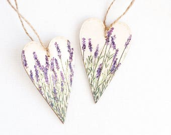 """Wooden Heart,  Rustic Heart, Tiny rustic style wooden heart decoration """"Lavender"""", set of 2, Wedding Decor, Heart Decor, Romantic Wedding"""