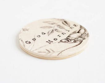 Wooden coaster with printed typewriter style text 'Good Morning'  - 1 pcs, handmade coaster, Wood Coaster, Rustic Coaster, Wood coaster