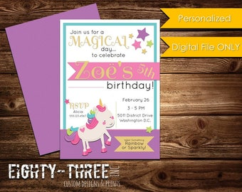 Unicorn Birthday Invitation - Custom - Digital File Only