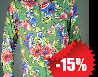 Vintage 60's Aloha Long Sleeve Hawaiian Rayon Shirt