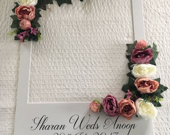 Wedding floral personalized selfie frame, Instagram facebook style with choice of artificial flowers to match own theme