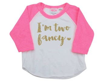 Second Birthday Outfit, I'm Two Fancy Shirt, 2 Year Old Birthday Girl, Two Year Old Birthday Shirt, Second Birthday Outfit Girl 137