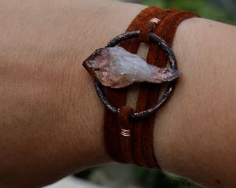 Raw Citrine Copper Suede Wrap Bracelet | Choker