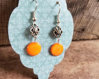 Beautiful orange dangle earrings