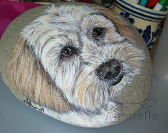 Yorkshire Terrier, painted dog, Yorkie puppy, dog portrait, rock painting, collection stones, gift idea, dogs lover, custom dog portrait