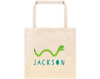 Snake Personalized School Tote Bag // Custom Canvas Snake Book Bag // Reptile Tote Bag Kindergarten //