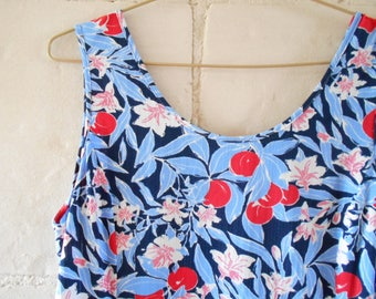 Devernois summer dress, super light, red blue fruits and leaves, French clothing. Medium size.