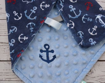 Minky Tag Blanket... Embroidered Baby Blanket For Boy... Minky Security Blanket... Custom Minky Blanket