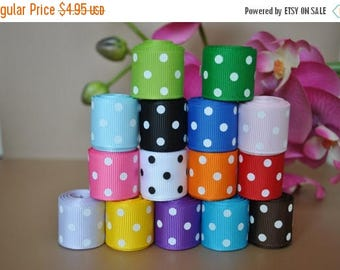 "ON SALE 15 yards  -5/8"" grosgrain ribbon polka dot"