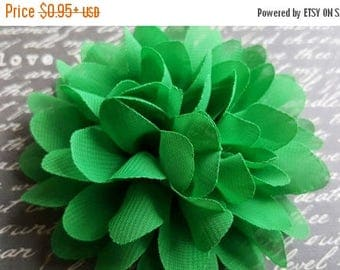 ON SALE large Soft chiffon flower, 4 inches GREEN chiffon puff flower, baby headband supply,for hair bow and headband projects,fabric flower