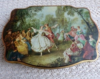 French vintage lithographed biscuit tin. Watteau fetes gallantes. Romantic decor. Vintage shabby tin. Storage tin. Sewing. Button box
