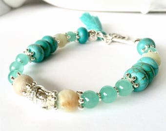Turquoise Gemstone Bracelet, Buddha Bracelet, Amazonite Bracelet, Yoga Bracelet, Stacking Bracelet Tassel Bracelet Beaded Bracelet