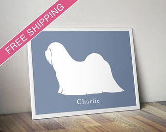 Personalized Lhasa Apso Silhouette Print with Custom Name - Lhasa Apso gift, dog art, dog poster