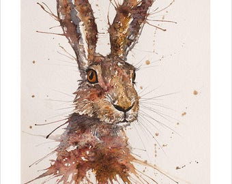 Wild Hare Portrait Wildlife Art by Emma Steel, Daughter of award winning artist John Silver. Personally signed A4 or A3 Print. ESWI156SP
