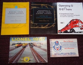 Lionel trains layout building books,1957 catalog,1956 manual of operating instructions