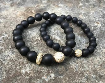 Matte Onyx stretch bracelet set
