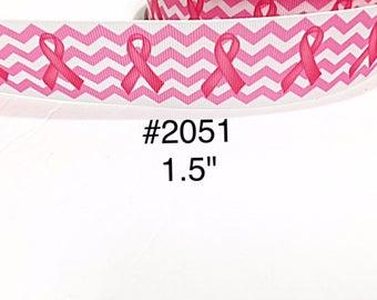 "3 or 5 yard - 1.5"" Breast Cancer Chevron on White Grosgrain Ribbon Hair bow"