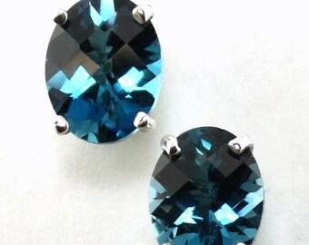 On Sale, 30% Off, London Blue Topaz, 925 Sterling Silver Post Earrings, SE002