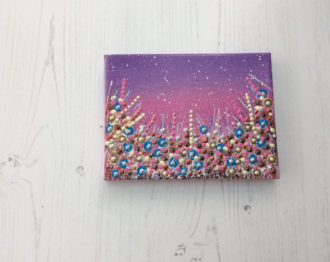 Original mini canvas art with easel & gift box ( free shipping to U.K. )