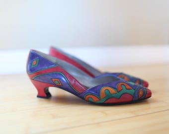 vintage  rainbow color block leather wedge womens 8 1/2