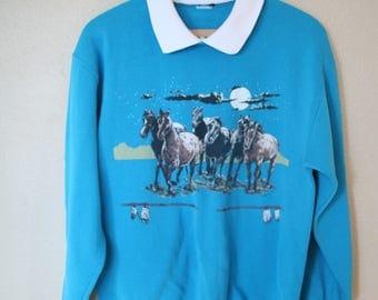 vintage collared turquoise horses western  sweatshirt *