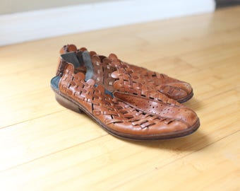vintage woven brown leather clogs mules womens 9
