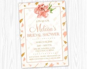 Printable Bridal Shower Invitation, Peach Floral and Arrows Wedding Shower Invite, Printable Shower Invite, CUSTOM Design, 4x6 or 5x7